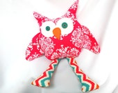 Hot Pink and White Owl Stuffed Animal with Teal Button Eyes and Chevron Legs, ready to ship