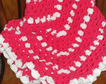 Hot Pink crocheted baby or lap afghan