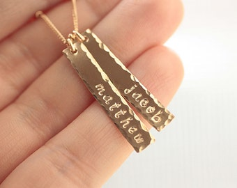 Personalized Bar Necklace, Dainty Gold Nameplate Necklace, Bar Charms, Mother's Necklace, Gold, Rose Gold, Sterling Silver, Rectangle Charms
