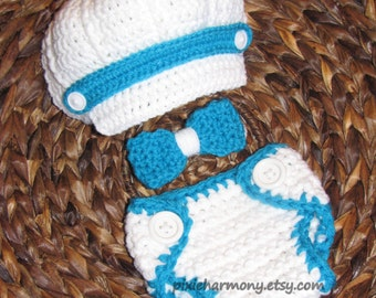 Baby BOY Hat - Newsboy Hat Bow Tie and Diaper Cover Set - PHOTO Prop - Made to ORDER - Newborn - White and Blue