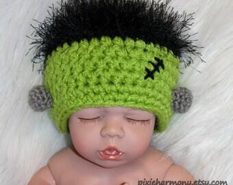 Baby Frankenstein Hat - Frankenbaby Hat - Newborn - Halloween - Reborn Doll Hat - AG Doll Hat
