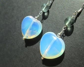 Sea opal heart and fluorite sterling silver earrings