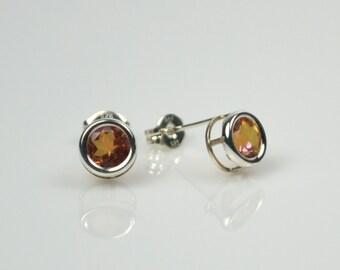Orange Topaz Bezel Post Earrings, Anastasia Topaz