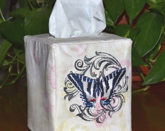 Zebra Swallowtail Butterfly Tissue Box Cover