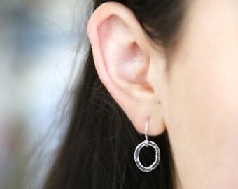 Modern Sterling Silver Oval Dangle Earrings - Simple everyday delicate jewelry