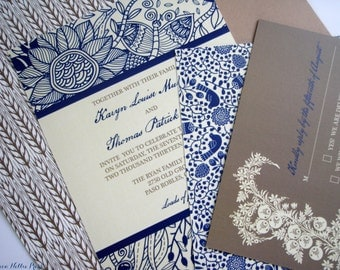 Rustic Country Wedding Invitation Collection - Primitive Floral