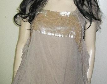 Wispy Diaphanous Pure SILK Chiffon RUFFLES Blouse Mermaid SEQUINS Couture Medium