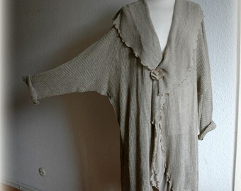 LINEN Natural Cardigan   Knitted Eco Friendly Sweater Wrap Clothing Natural Lagenlook  Plus Size