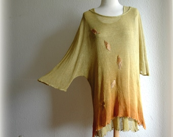LINEN Knitted Tunic Asymmetrical Yellow Orange Hand-Dyed With Flower Appliques Unique Fiber Art Eco Friendly  Natural