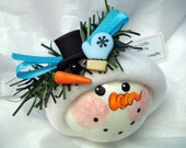 Frozen Build A Snowman Hand Painted Christmas Ornament with Handmade Blue Snowflake Print Hat