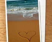 "Love CARD ""Mon Amour"" Original 6 x 4 Photo On Nice Thick Card Stock. Love, Beach, Heart in Sand, Ocean, Wedding Card, Valentine, French"