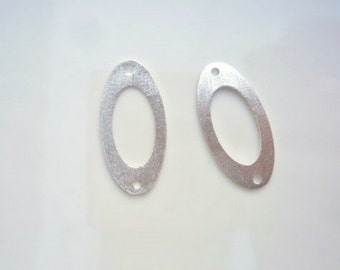 2 pcs Sterling silverl,brushed,  flat oval finding with 2 holes, connector, link (25x12mm)