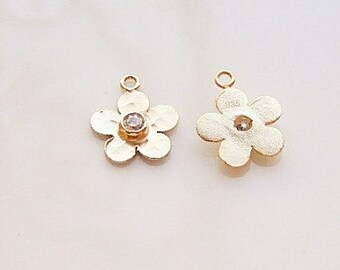 2 pcs Vermeil hammered flower charms with cz (12x10mm),.925 stamped, gold plated over .925 sterling silver