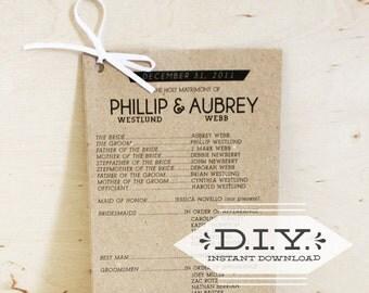 Modern Wedding Program made of Kraft Cardstock (printable, instant download)