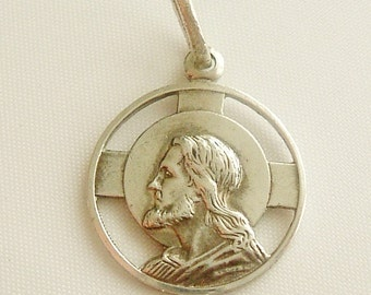 Art nouveau silver French religious medal charm, head of Christ