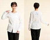 Ethnic Style Linen Women Blouse WITHOUT Embroidery Pattern  / 28 Colors/ RAMIES