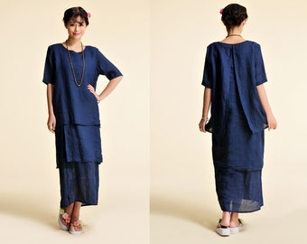 The Enchanting Iris / Asian Style Three Layered  Linen Long Dress with Short Sleeve / 14 Colors/ RAMIES