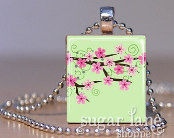 Cherry Blossom Doodles Necklace - (CBA1 - Pink, Mint Green, Brown) - Scrabble Tile Pendant with Chain