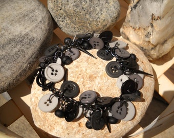 Midnight Storms Black and Gray Button Bracelet