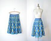 SALE! 1950s Skirt / 50s Hand Painted Skirt