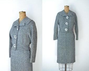 Vintage 1950s Dress Suit / 50s Tweed Wool Skirt Suit