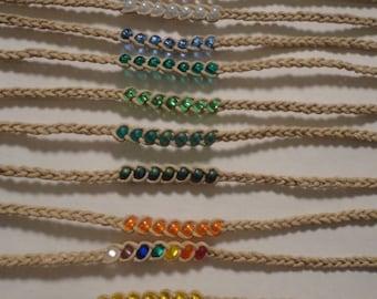 10 Hemp Beaded Wish Anklet/Bracelet - You Pick Color