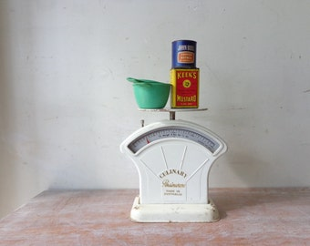 Vintage White Persinware Culinary Scales with Props - Rustic Farmhouse