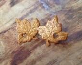 Golden heart fall leaf earrings