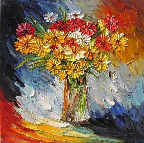 In Love  24x24 Original Oil Painting ART By Marchella Bouquet Vase Flowers Still Life Daisies Colorful Yellow Blue Moden Home decor Wall art
