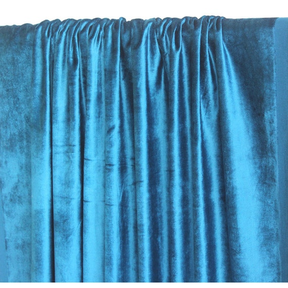 "Peacock Blue Velvet Curtain 52""x84"" Rod Pocket Curtain Panel Drapes ..."