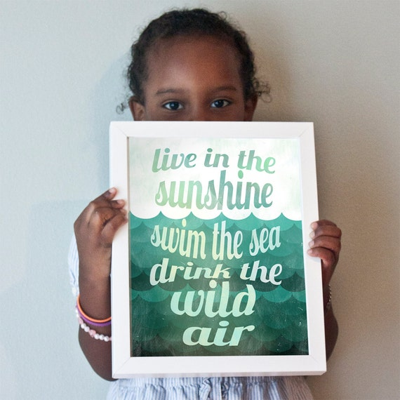 Live in the Sunshine print in turquoise and teal