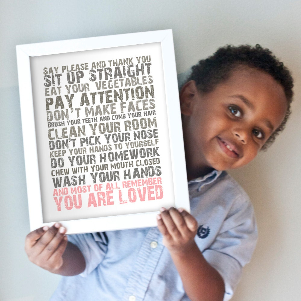 You Are Loved print in gray and pink
