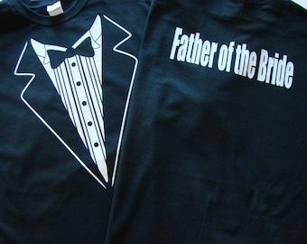 Wedding Tuxedo Father of the Bride - Black Tux Tshirt - Mens size2Xl,3Xl,4XL Tux shirt- Rehearsal Dinner shirt