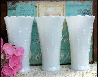 Vintage Milk Glass Wedding Vases / Milk Glass Centerpieces / My Shabby Chic Wedding/ Teardrop Vases