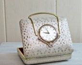 Jewelry Case With Clock Silver Gold Rhinestones Phinney-Walker