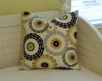 Suzani Design in Gray, Black and Goldenrod Designer Pillow Cover