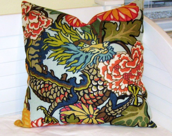 Pair of Matching Schumacher Chiang Mai Dragon in Aqua (Both Sides) Designer Pillow Covers