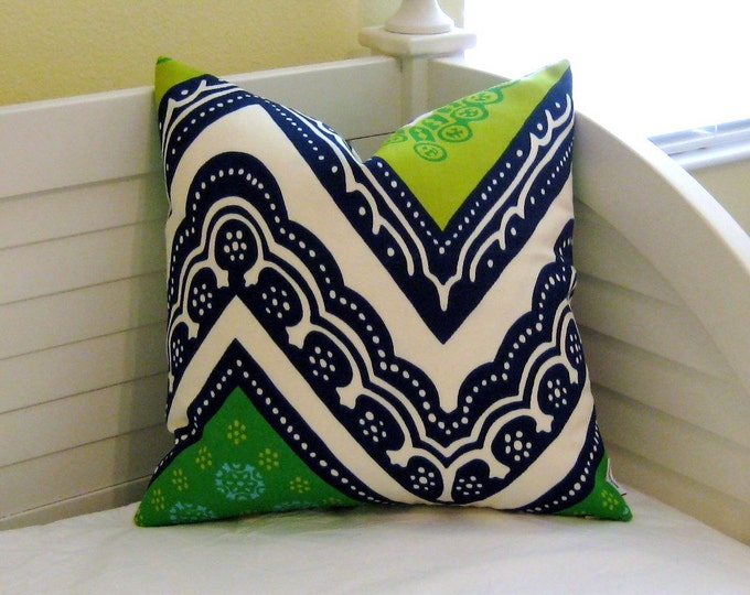 Trina Turk for Schumacher Tangier Frame in Sea Grass (on Both Sides) Designer Pillow Cover - Square, Lumbar and Euro Pillow
