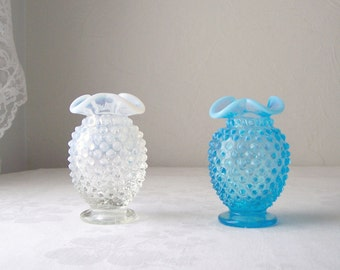 blue and white fenton hobnail vases - set of two opalescent - vintage collectible vase
