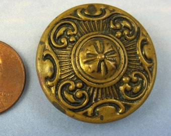 Victorian Button Antique Button Floral Button 1 Large Ornate Brass Button 300