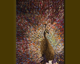 Peacock Oil Painting Textured Palette Knife Contemporary Modern Original Animal Art 24X36 by Willson Lau