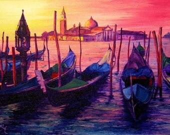 Venetian Gondolas, A4 Fine Art Italian Sea/Landscape Sunset Painting Print
