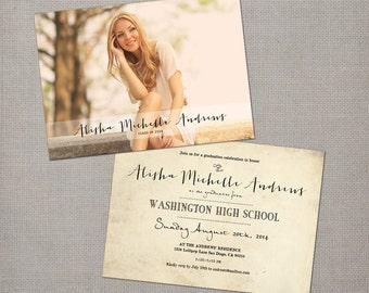 "Graduation invites, 5x7, Graduation invitations, the ""Alisha 1"""