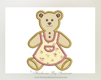 Machine Applique - INSTANT Download - Machine Embroidery - Girl Teddy - Nursery Applique - 4 Sizes - Teddy Bear Applique - Girl - 4x4 - 5x7