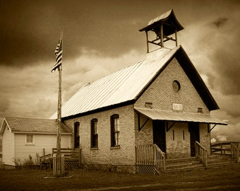 Old Two Room Schoolhouse near Middleville in Southwest Michigan No.SP0044 A Sepia Toned Historical Landscape Photograph