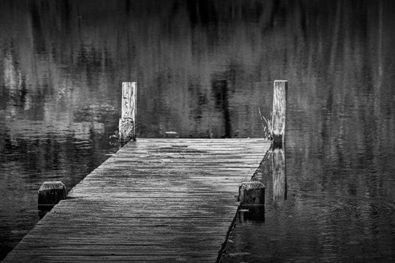 Boat Dock on a Pond with Autumn Reflections near Yankee Springs Michigan No.0082BW A Black and White Fine Art Landscape Photograph