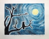 Owl in the Night, Original Print