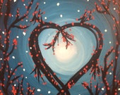 Sale Original Abstract Painting Tree Heart Flowers
