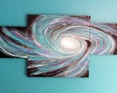 Three piece canvas Original space galaxy art painting nebula teal abstract