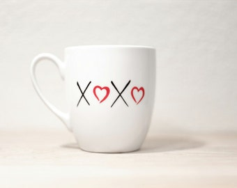 XOXO Hand Painted cup Ceramic Coffee mug personalized  Mug Minimal design